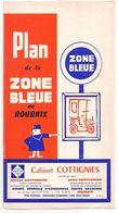 FRANCE/ANCIEN PLAN TRYPTICLE  DE ZONE BLEUE(1965)DE LA VILLLE DE ROUBAIX/   NOM REUSES PUBLICITES AURECTO ET VERSO - Europe
