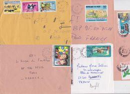 NIGER - Lot De 5 Enveloppes Timbrées - Cover Mail - Ayrton Senna - Alain Prost - Samuel Morse - Jérusalem - Oiseau - Niger (1960-...)