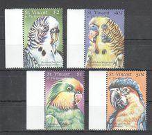 J752 ST.VINCENT FAUNA BIRDS PARROTS MACAWS 1SET MNH - Parrots