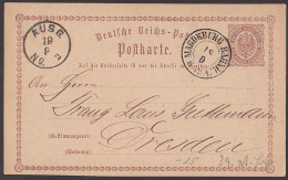 Magdeburg Bahnhof Germany 1/2 Groschen Ganzsachenkarte Nach Dresden 1874 - Germania