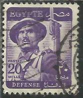 EGYPT EGITTO 1953 1956 SOLDIER SOLDATO 20m PURPLE USATO USED OBLITERE' - Egypt