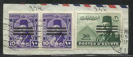 EGYPT EGITTO 1953 KING FAROUK RE ROI 10m VIOLET + 30m OL GREEN OVERPRNTED IN BLACK USATO USED OBLITERE' - Egypt