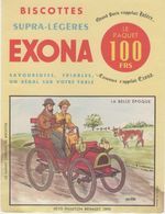 BUVARD  - Blotter -  Biscottes Exona - Petit Phaeton Renault 1898 - Illustrateur L VUITTON - Buvards, Protège-cahiers Illustrés