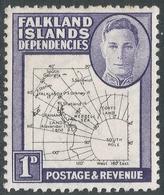 Falkland Islands Dependencies. 1946-49 KGVI Thin Map. 1d MH. SG G10 - Falkland Islands