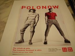 PUBLICITE AFFICHE VETEMENT POLNOW DE UNIQLO - Vintage Clothes & Linen