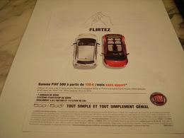 PUBLICITE AFFICHE VOITURE FIAT 500 C - Voitures