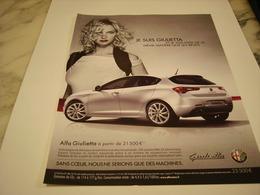 PUBLICITE AFFICHE VOITURE ALFA ROMEO GIULIETTA - Voitures