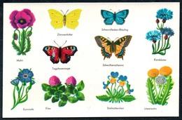 B1393 - Abziehbild Schiebebild -  Planet Verlag Berlin DDR 1977 - Schmetterling Blumen - Fêtes - Voeux