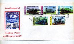 Lettre Cachet Hambourg Iva'79 Sur Locomotive - Nicaragua
