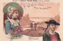 Chromo - Chocolat Poulain Orange - La Coiffure Chez Les Peuples - Bretagne - Poulain