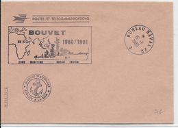 """NAVAL - 1980 - ESCORTEUR """"BOUVET"""" - ENVELOPPE Du BUREAU NAVAL 22 - NON ADRESSEE - Postmark Collection (Covers)"""