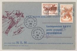 Nederland - 1946 - 1e Vlucht Amsterdam - Stockholm Op Speciale Kaart - Periode 1891-1948 (Wilhelmina)