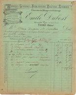 69 COURS FACTURE 1896 Fabrique De Ferblanterie Zinguerie Huiles Minérales  Emile DUBOST  * Z73 C/ THIZY Les Bourgs - 1800 – 1899