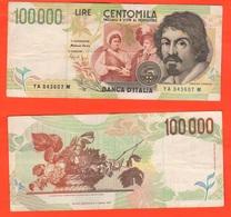 100000 100.000 Lire 1994 Caravaggio II° Tipo Repubblica Italiana Fazio Speziali - [ 2] 1946-… : Repubblica