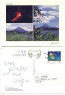 Costa Rica 1995 Postcard Arenal Volcano, Jaco To Schoolcraft Michigan, Scott C926 - Costa Rica