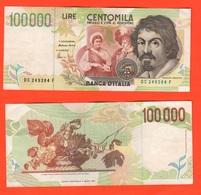 100000 100.000 Lire 1995 Caravaggio II° Tipo Repubblica Italiana Fazio Amici - [ 2] 1946-… : Repubblica