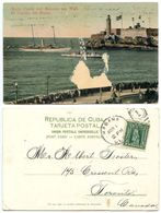 Cuba 1907 Postcard Morro Castle & Malecon Sea Wall, To Canada, Scott 233 - Cuba