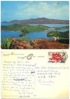 Antigua 1980 Postcard Dock Yard From Shirley Heights, To Canada, Scott 415 - Antigua & Barbuda