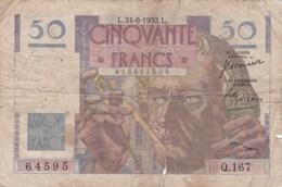France - Billet De 50 Francs Type Le Verrier - 24 Août 1950 - 1871-1952 Circulated During XXth
