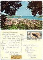 St. Lucia 1977 Postcard View Of Castries, To Canada, Scott 393 Bird X 2 - Saint Lucia