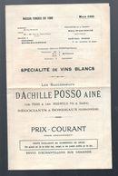 Bordeaux (33 Gironde) Prospectus Vins POSSO ROSENFELD 1923 Tarif  (PPP7531) - Advertising