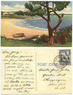 Bermuda 1951 Postcard Pink Beach, St. George's To U.S., Scott 121A Lighthouse - Bermuda