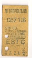 ANCIEN TICKET DE METRO EST - C    ALLER ET RETOUR     VALABLE POUR  CE JOUR SEULEMENT CPA1450 - Europe