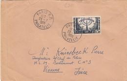 FRANCE - LETTRE PARIS 23.7.1955 - YvN°1022 SEUL SUR LETTRE   /2 - Poststempel (Briefe)