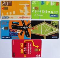 TELECARTES.SUISSE.cartes Prépayées Ticket De Bus Geneve. Cartes à 20fs.LOT DE 5. - Bus