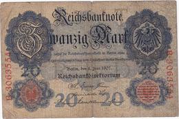 Allemagne - Billet De 20 Mark - 8 Juin 1907 - [ 2] 1871-1918 : Empire Allemand