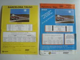 BARCELONA TALGO / CATALAN TALGO. BARCELONA-PARIS: 1984 & 1989 - ESPAÑA, SPAIN. RENFE. - Spoorweg