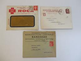 Lot De 3 Enveloppes Publicités, Croix-Rouge, Manufactures De Pansements Et Bandages - Advertising