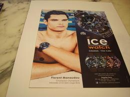 PUBLICITE AFFICHE MONTRE ICE WATCH AVEC FLORENT MANAUDOU - Autres