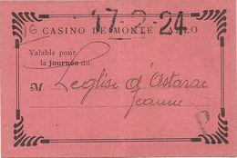 CASINO DE MONTE CARLO . 1924 - Tickets - Vouchers