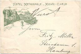 ENVELOPPE ILLUSTREE . MONTE CARLO . HOTEL METROPOLE - Advertising