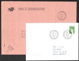 FRANCE '62 VERTON'  1981  2 MARQUES POSTALES Et OBLITERATIONS - Marcophilie (Lettres)