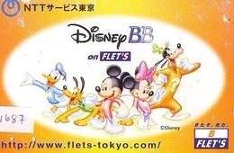 Carte Prépayée Japon * DISNEY BB * FLET'S (1687) MICKEY MINNIE DONALD DUCK GOOFY PLUTO * JAPAN PREPAID CARD - Disney