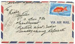 Grenada 1974 Airmail Cover Victoria To Montserrat - Radio Antilles, Scott 299 Fish - Grenada (...-1974)