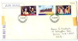 Tuvalu 1977 FDC Scott 43-45 Reign Of Queen Elizabeth II 25th Anniv, Funafuti To U.S. - Tuvalu
