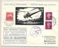 Nederland België - 1947 - Helicoptervlucht Van Den Haag Naar Brussel Vice Versa - 1891-1948 (Wilhelmine)