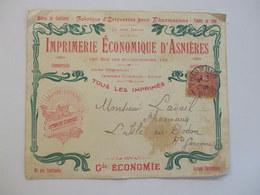 Enveloppe Publicitaire Imprimerie économique D'Asnières, Asnières, 1908 - Advertising