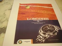 PUBLICITE AFFICHE MONTRE LONGINES ROLAND GARROS - Jewels & Clocks