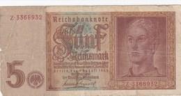 Allemagne - Billet De 5 Reichsmark - 1er Août 1942 - [ 4] 1933-1945 : Third Reich