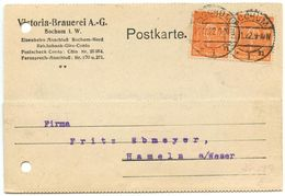 Germany 1922 Postcard Bochum To Hameln A/Weser, Pair Of 150pf Farmers Stamps - Deutschland