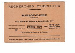 Buvard   RECHERCHES D HERITIERS  DAEJOU - FABRE - Buvards, Protège-cahiers Illustrés