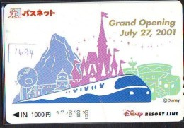 Carte Prépayée Japon - DISNEY RESORT LINE (1694) GRAND OPENING 2001 - Train & Rocher - Japan Prepaid Card - Disney