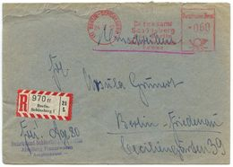 Germany, Berlin 1957 Registered Meter Cover Berlin-Schöneberg To Berlin-Friedenau - [5] Berlin