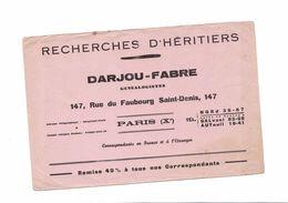 BUVARD  RECHERCHES D HERITIERS  MARCEL DONIOL  DARJOU FABRE - Blotters