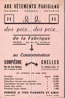 BUVARD   AUX VETEMENTS PARISIENS A COMPIEGNE - Textile & Clothing