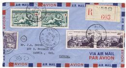 F691 - CROIX ROUGE 937 LETTRE RECO AVION 15-5-53 X CANADA TARIF SPE 18 FR + 46 AVION + RECO 45 BELLE - France